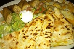 juan's flaming fajitas and cantina dog friendly restaurant in las vegas nevada, picture of quesadilla and toppings